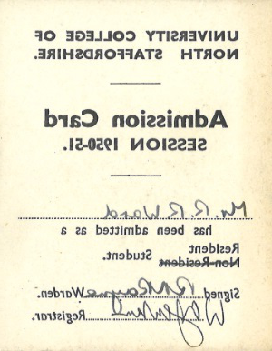 Admission Card UCNS for R R Ward 1950